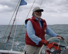 Skipper JB on the wheel