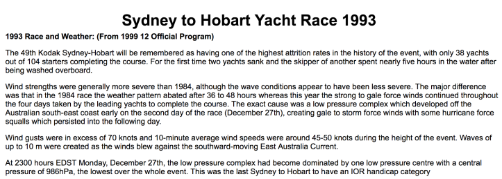 Sydney Hobart 1993 weather