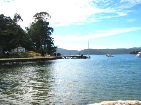 Sundance moored at the Wharf at Port Arthur.