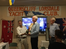 Champagne Sternchaser trophy goes to Drizabone (Tom Fricke receiving)