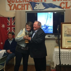 Mayor Bob Merriman presents the Christabel Cup to Kathy Coutin (Warrior)