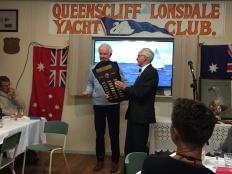 Commodore Colin presents the Irwin Trophy to Tom Fricke (Drizabone)