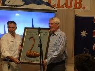 Captain Steve receives Mud Island Trophy from JB