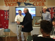John Barry presents third place in Round Mud Island to Tintagel