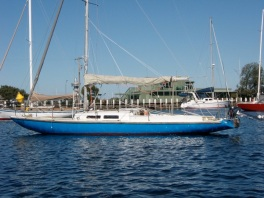 Bonta (converted dragon on mooring at Queenscliff Cruising Yacht Club.