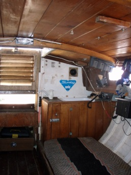 Bonta cabin Mind your head. Two bunks and galley.