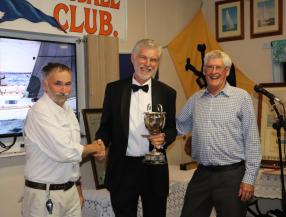 JB presents the Cole Cup to Boomaroo skipper Tom