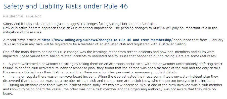 Aus Sailing re membership